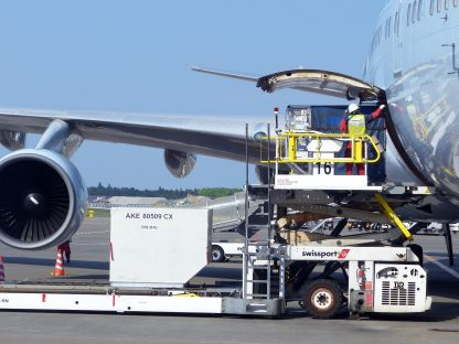 a ULD containing air freight, air cargo, being loaded on the lower deck of an airplane for air freight transport. Used on our air freight training, our air cargo online course.