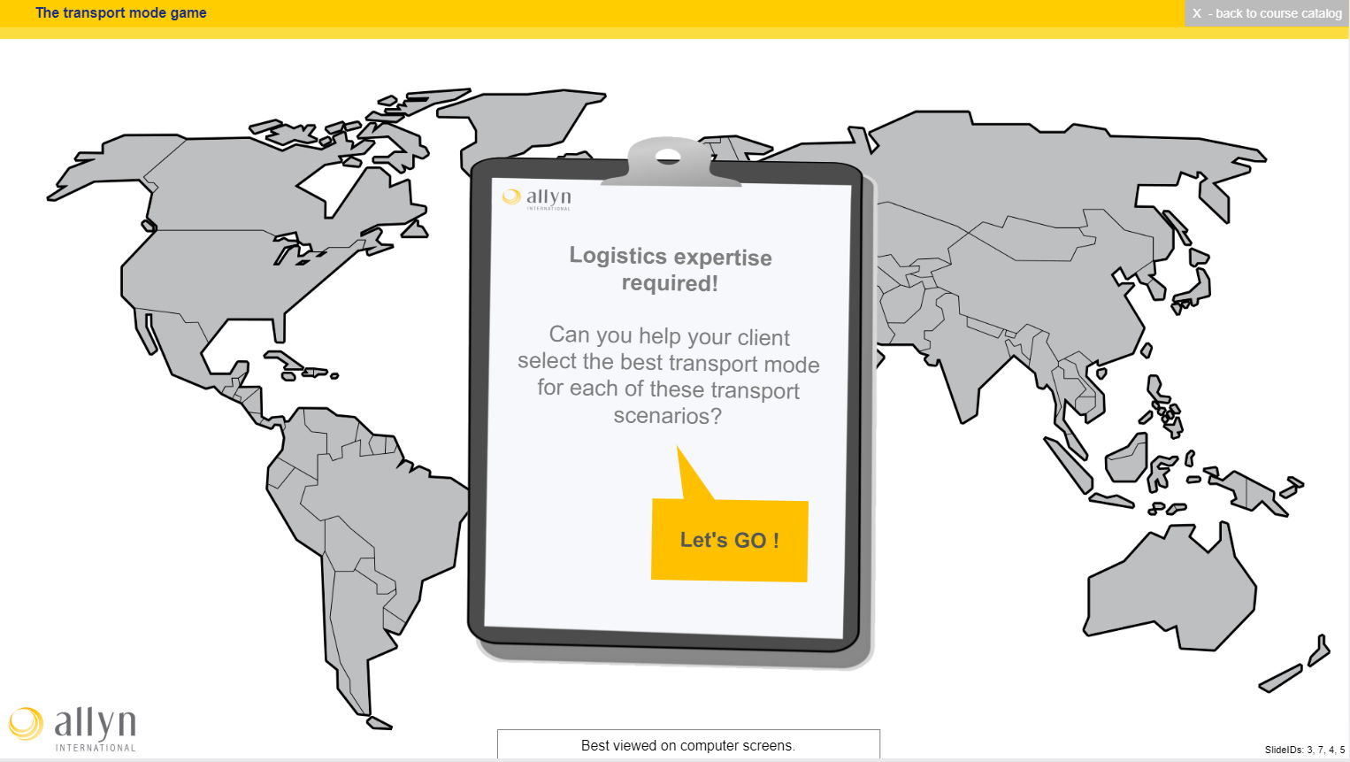 The first page of our logistics transport game used to validate some knowledge acquired in our logistics training courses