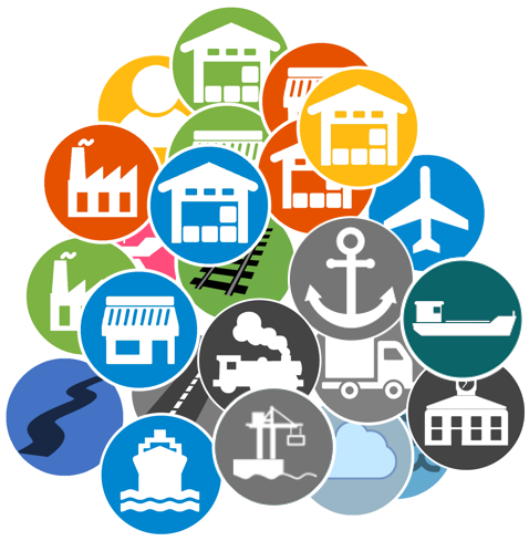 Some of the icons used in our logistics training courses and on our logistics blog