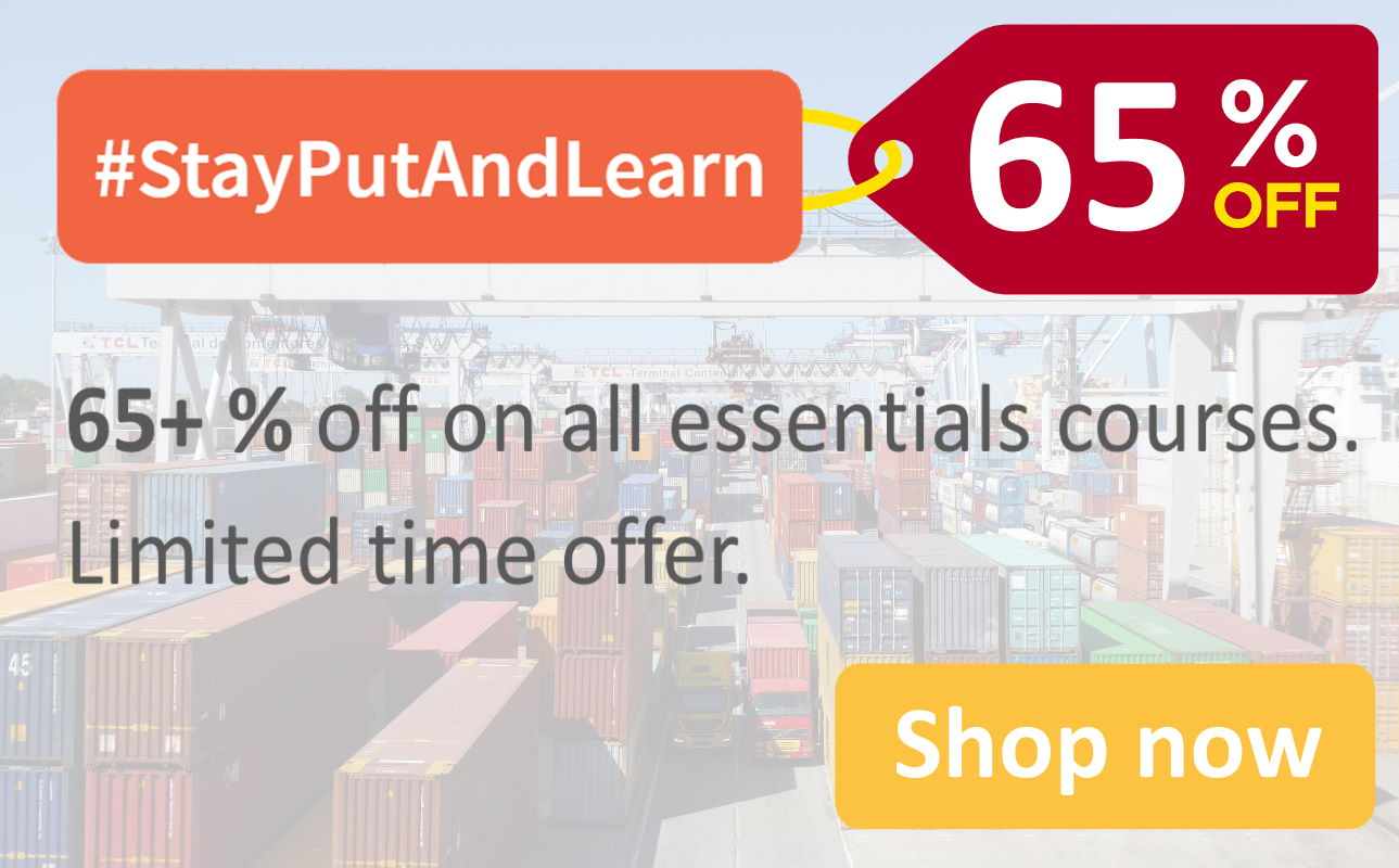 65 percent discount on our logistics training and logistics elearning courses